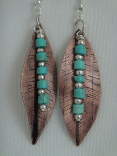 guCopper Leaf & Turquoise Beaded Pierced Earrings by GumboCreations, $25.00