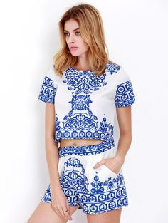 Online shopping for Blue White Short Sleeve Floral Crop Top With Shorts Suits from a great selection of women's fashion clothing & more at MakeMeChic.COM.