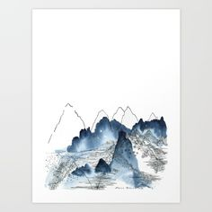 Ink and watercolour painting. I like playing with marks and wash, to create space with simple lines and shades. There is something very atmospheric about this indigo watercolour against the pure white of the page.<br/> <br/> white, indigo, watercolor, mountain, mountains, landscape, nature, ink line, ink pen, abstract landscape