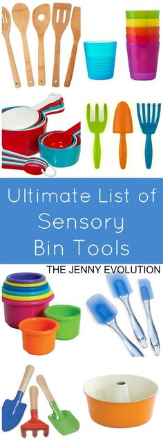 Here is an ultimate list of sensory bin tools for kids to use as practice for fine motor skills, sensory integration, independence skills and more! Sensory Tubs, Sensory Boxes, Baby Sensory, Sensory Activities, Sensory Play, Infant Activities, Activities For Kids, Toddler Sensory Bins, Sensory Diet