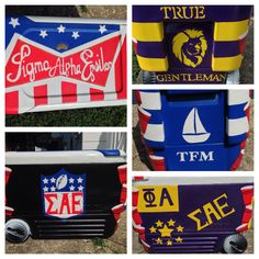 SAE frat cooler.  Hand-painted it myself, used painters tape and handmade stencils!