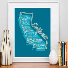 15.00$ - California State Print California Art California Poster California Print