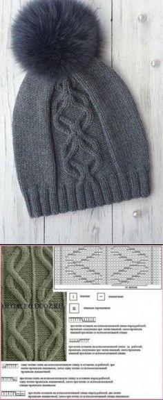 Cap from arana spokes Beanie Knitting Patterns Free, Knitting Paterns, Knitting Charts, Knitting Designs, Knitting Stitches, Knit Patterns, Baby Knitting, Knitting Projects, Knitting Scarves