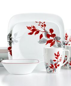 #Corelle Kyoto Leaves Square 16-Pc. Dinnerware Set Service for 4 -  sc 1 st  Pinterest & Signature Living Barcelona Red 16-Piece. Set Service for 4 ...