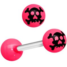 Pink Black Skull and Cross Bones Barbell Tongue Ring | Body Candy Body Jewelry #bodycandy