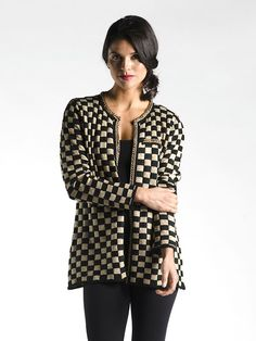 A stunning piece that can be worn as a sweater or as outerwear, we know you'll love that extra stretch and stunning high fashion look! With a gold chain trim and elegant mix of classic black and gold, you'll be turning heads all season! High Fashion Looks, Holiday Fashion, What To Wear, Amp, Couture, Chain, Elegant, Detail, Classic