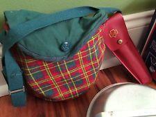 Vintage Lot Girl Boy Scout Aluminum Cook Kit Pan Silverware Camping Plaid Bag