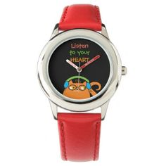 Cat Hipster Music Glasses Bright Modern Funny Cool Wrist Watch - heart gifts love hearts special diy