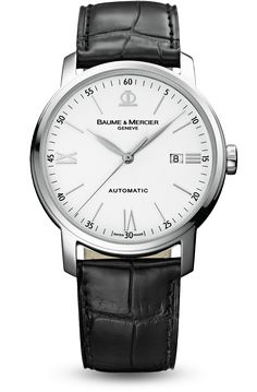 Discover the Classima 8592 steel and leather watch for men with automatic movement, designed by Baume et Mercier, Swiss Watch Maker.