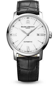 Découvrez la montre homme bracelet cuir à mouvement automatique Classima 8592, conçue par Baume et Mercier, manufacture de montres suisses.