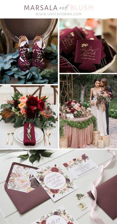 Marsala and blush wedding inspiration. Maroon and blush wedding or burgundy and blush wedding. Marsala and gold wedding inspiration. Bohemian wedding inspiration.