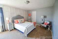 coral and gray decor - idea for guest room