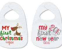 My First Christmas Bib My First new Year's Bib SET Personalized with Name Reindeer Baby