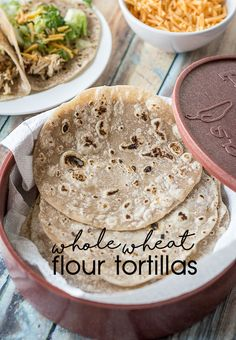 Fresh, homemade, flour tortillas that can be made with whole wheat or all purpose flour. They taste authentic and are perfect to go with any Mexican dish.