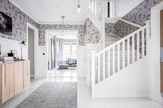 Hallway and white stairs Interior Stairs, Interior And Exterior, Interior Design, Attic House, House Rooms, Scandinavian Cottage, Swedish Interiors, Living Room Wood Floor, White Stairs