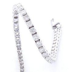 #Malakan #Jewelry - White Gold Diamond Tennis Bracelet  MTB747B #Bracelet #Fashion #TennisBracelet