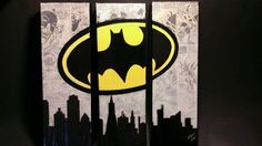 Set of three (3) or four (4) canvas, mixed media paintings. * PLEASE NOTE Batman painting is already sold.  Superman painting still available and