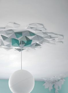 un Origami . The Fundamental Group : Rhombus Tiles System Ceiling Rose, Ceiling Tiles, Ceiling Design, Rhombus Tile, Plafond Design, Ideias Diy, Diy Origami, Origami Wall Art, Origami Templates