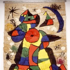 """Joan Mirò, Tapís de la Fundació.  """"Barcellona fundaciò Mirò, anno 1998...Dopo le prime opere che rappresentano la gioia e i colori una sala con un enorme tappeto. Un piccolo divano per sedersi e ammirare...Una sensazione di mistico rapimento. Dimenticarsi del tempo e sognare che l'enorme gatto colorato inizi a saltare. Un gatto definito e tratteggiato come io da bambino l'avrei disegnato. Vuoi sognare? Immagina, respira Mirò"""". https://www.facebook.com/profile.php?id=738180781"""