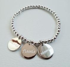 4827ae4ebb73 Pulsera bolas con medallas grabadas y personalizadas. Todo en plata de 1ª  ley www.plata-design.es