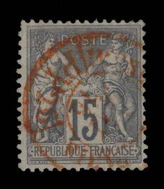 TYPE SAGE - 1876 - N°77 15c GRIS (N SOUS U) CAD ROUGE DES IMPRIMÉS - TB in Timbres, France, France: oblitérés | eBay