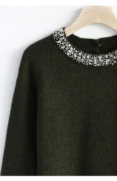 Jewelry Neckline Sweater in Moss Green - Retro, Indie and Unique Fashion Unique Fashion, Love Fashion, Autumn Winter Fashion, Womens Fashion, Fashion Design, Dress Up Wardrobe, Diy Clothes, Clothes For Women, Mode Style
