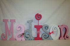 Nursery letters Baby Girl Nursery custom by PaintedPoshDesigns