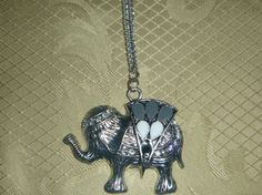 Elephant necklace with diamond and stone by Zedezign on Etsy, $20.00
