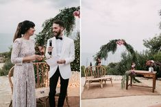 Stylish Outdoor Wedding at Masia Casa del Mar in Barcelona, Spain | Embellished Ze García Bridal Gown with Front Split | Groom in Tuxedo | Greenery & Pink Flowers | Sara Lobla Photography | Made in Video Film