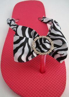 Designer Style Hot Pink Flip Flops  Zebra Wrapped by KsBowtique, $30.00