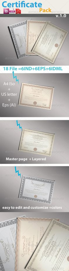 Pro Certificate Pack Template Vector EPS, InDesign INDD. Download here: http://graphicriver.net/item/pro-certificate-pack/5025730?s_rank=39&ref=yinkira