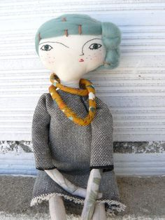 Artistic doll with merino wool hair and by AntonAntonThings