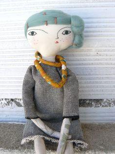 Artistic doll with merino wool hair and by AntonAntonThings
