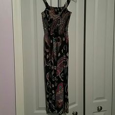 """Purple Sundress Very cute purple/blue/and pink sundress. Stretchy top and no tag makes it OS, but fits comfortably as a medium. I'm 5' 3"""" and it rested slightly below my knee. Very comfortable! Dresses"""