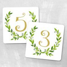 Laurel wreath table numbers