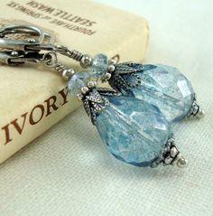 Speckled Blue Teardrop Earrings Neo Victorian by CloudCapJewelry, $15.50