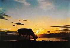 Reindeer in the Midnight Sun Norway Midnight Sun, Reindeer, Norway, Painting, Art, Art Background, Painting Art, Paintings, Kunst