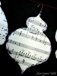 Love Grows Wild: Vintage Sheet Music Ornaments