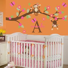 Cute Monkey Bedroom Decor for Setting Cheerful and Soothing Nursery Room : Innovative Wall Mural Inside Comfy Monkey Bedroom Decor With White Crib And Pink Cloth Beside White Dresser And Yellow Decorative Flowers Near Orange Wall