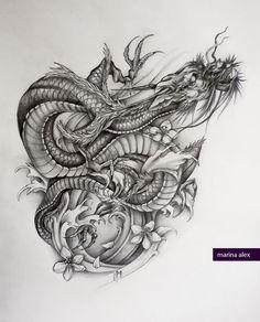 Asian dragon tattoo sketch by MarinaAlex.deviantart.com on @deviantART