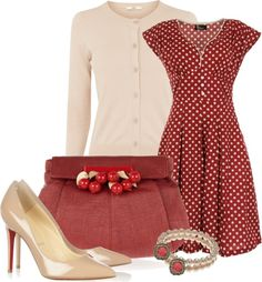 """Vintage Red"" - this is a very cute spring summer look (got a similar dress in navy which might work..)"