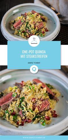 Liebt ihr auch schnelle One-Pot-Gerichte? Dann ist dieses One-Pot Quinoa mit Steakstreifen! #steak #quinoa #kochen #schnellerezepte #onepot