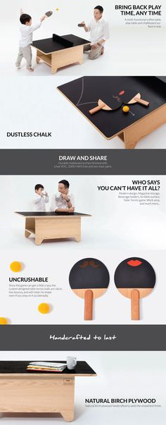 Huzi Table Tennis Table - A multi-functional coffee table, play table and chalkboard surface in one. When you're not in a thrilling game, scribble your thoughts on the chalkboard, sit down and read a book, or simply relax with a cup of tea