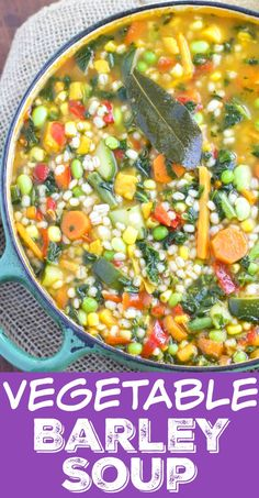 30 Minute Garden Veggie Barley Soup , This hearty vegetable barley soup is ready in only 30 minutes and it's absolutely loaded with vegetables and flavor! This quick and healthy soup will be one of your new family favorites!