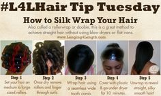 How to Silk Wrap Your Hair #L4L #HairTipTuesday Healthy Hair Tips, Relaxed Hair, Hair Care Tips, Natural Hair Straightening Products, Natural Hair Regimen, How To Wrap Hair, Silk Press Products, Silk Wrap Nails, Roller Set Natural Hair