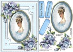 Beautiful Vintage lady with Blue Roses  on Craftsuprint - Add To Basket!