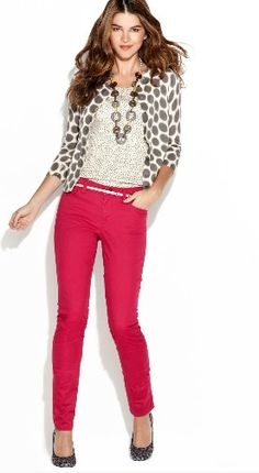 Like the pink pants, but don't know if I'd wear them. Like the cardigan,top, jewelry.