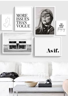 We LOVE this fashion themed Gallery-Wall Ready to hang, only 100$ for all 6 art prints. Very classy in monochrome