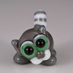 Gray Tabby Cat Lampwork Bead glow in the dark by maybeads on Etsy, $17.00