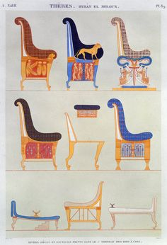Ancient Egyptian furniture Wall Art Prints by Pomel